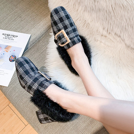 Hairy single shoes female 2019 new wild thick with the British wind a pedal small shoes 36