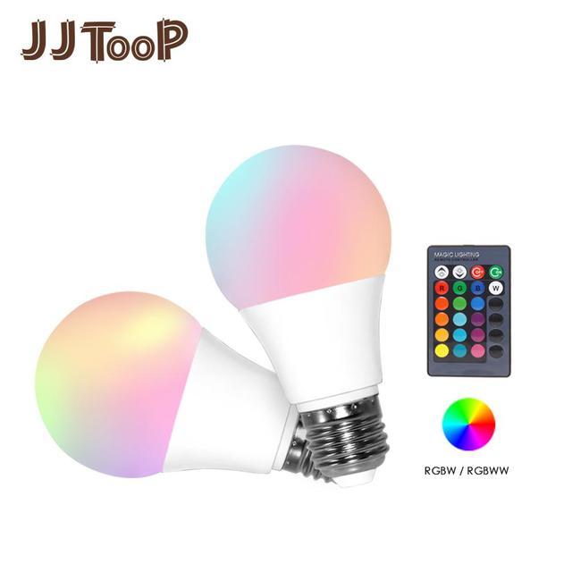 LED RGB لمبة E27 5 واط 10 واط 15 واط RGBW RGBWW الأضواء الملونة ديكور المنزل شريط حفلة عيد الميلاد طاولة ليلية مصباح الأشعة تحت الحمراء عن بعد 220 فولت 240 فولت