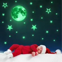 Myfoils Luminous moon and stars wall stickers creative personalized fluorescent removable  for kids