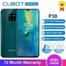 Cubot P30 4GB 64GB MT6763 OCTA Core Android 9.0 สมาร์ทโฟน 6.3 FHD + Waterdrop หน้าจอ 2340*1080 4000mAh Face ID 4G โทรศัพท์มือถือ