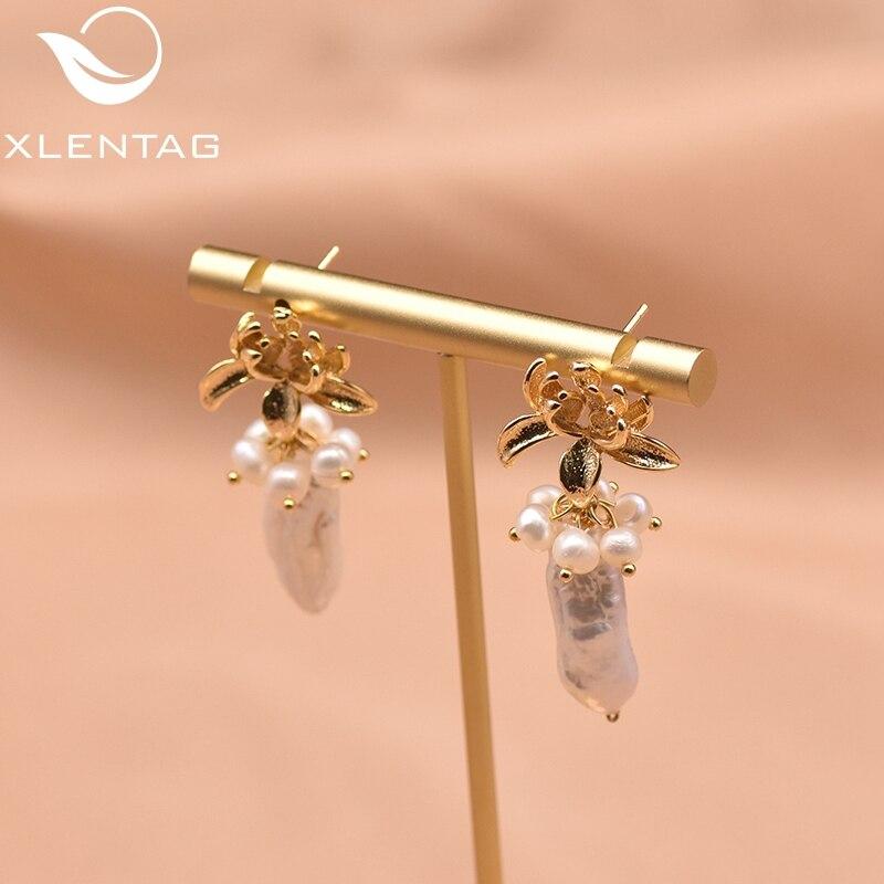 Xlenag – boucles d'oreilles baroques en forme de Lotus pour femmes, bijoux en perles naturelles, en or, cadeaux de luxe nobles, simples, faites à la main, GE0984