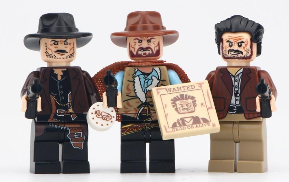 WM6026 Cowboy The Good The Ugly The Sad Old Fashion Movie Characters Action Figures Building Blocks Mini Toys For Children DIY image