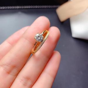 Женское кольцо с моисанитом 0,5 карат, посеребренное золотистое кольцо из стерлингового серебра 925 пробы, подарок на день рождения, блестящее...
