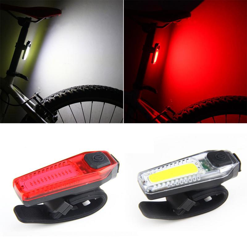 Bicycle Rear Tail Light LED USB Rechargeable Bicycle Mountain Bike Road Bike Red Light White Light Safety Riding Warning