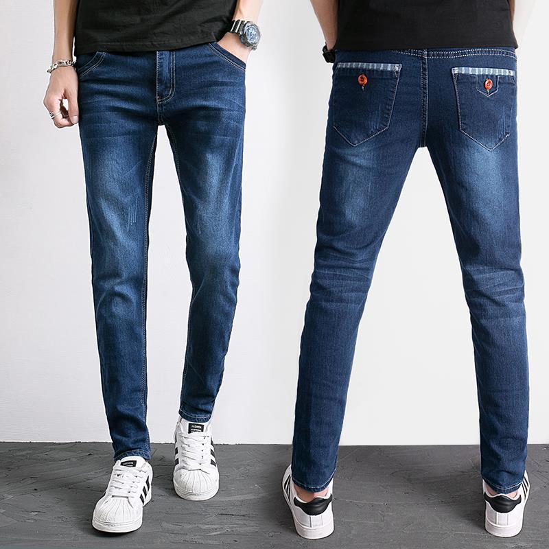 2018 Autumn Jeans Men's Slim Fit Pants Teenager Students Trend Korean-style Elasticity Casual Versatile MEN'S Trousers