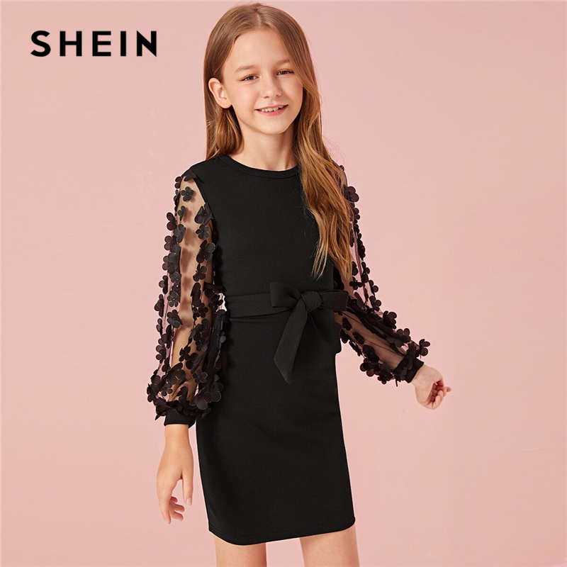 SHEIN Kiddie Girls Mesh Appliques Sleeve Cute Dress With Belt Kids 2019 Autumn Long Sleeve Zipper Back Bodycon Dresses