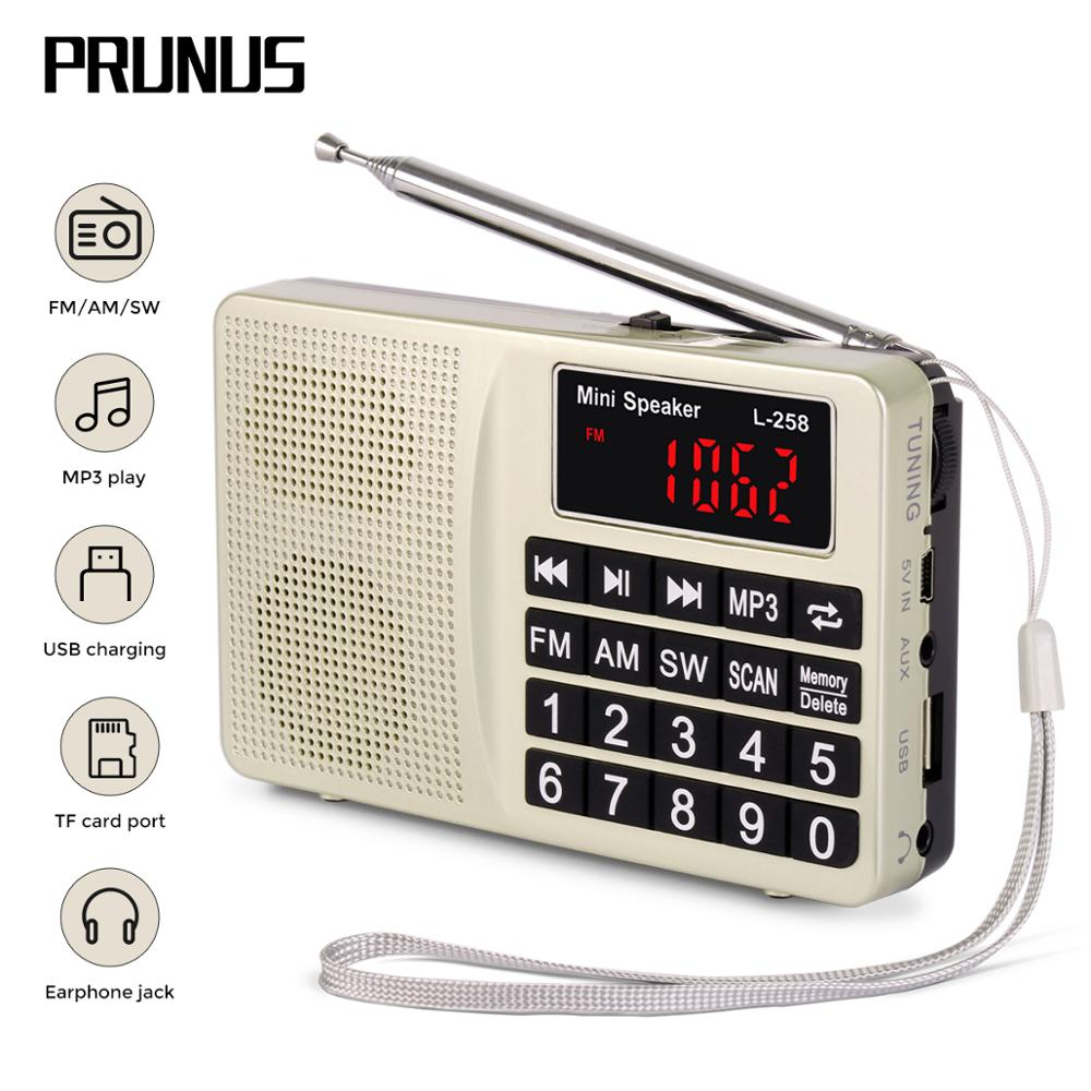 PRUNUS L-258 Radio Receiver FM AM SW Portable Digital Radio Support U-Disk/ TF Card/AUX MP3 Play Bass Stereo Radio USB Charging