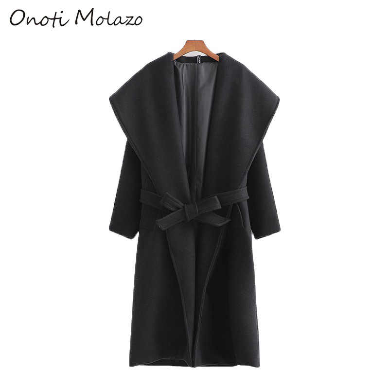 Onoti Molazo Casual Women Coats Woolen Long Windcheater Winter Sashes Chic Elegant Ladies Windbreaker Coat Female 2019 New