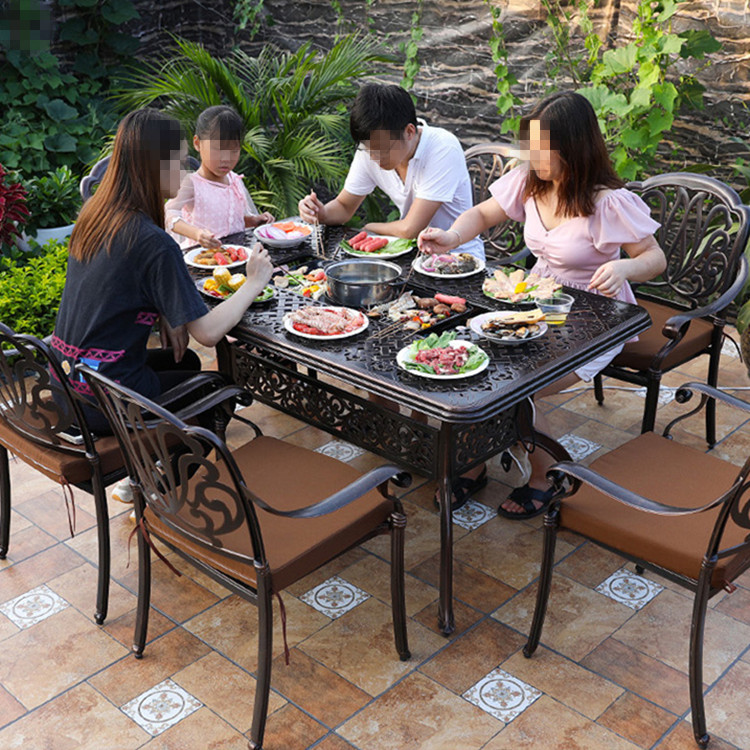 Hot Pot Baking Restaurant  Cast Aluminium BBQ Table Rectangle 150x90x74cm For Garden Without Chairs