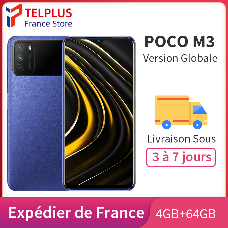 "Version mondiale POCO M3 4 go RAM 64 go ROM téléphone Mobile Snapdragon 662 Octa Core 48MP Triple caméra 6.53 ""FHD + DotDisplay 6000mAh"