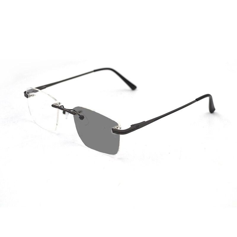 Óculos de sol miopia fotocromática sem aro para mulher homem negócios óculos de visão curta moda óculos de visão 0,-1.0 ~-6.0 n5