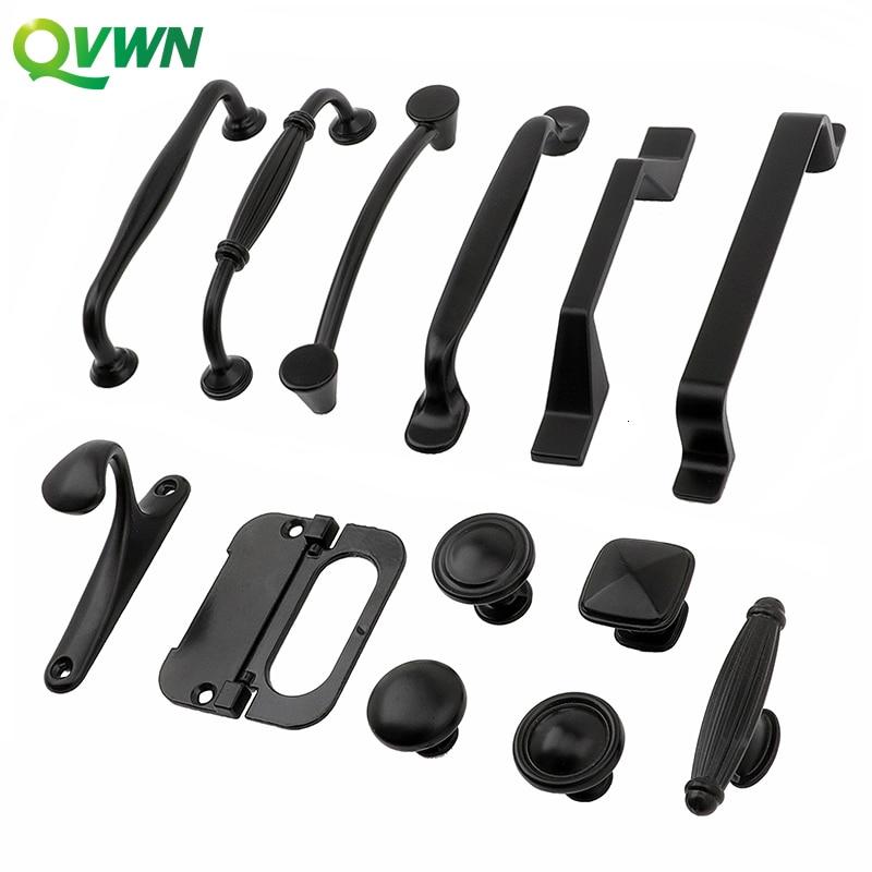 QVWN Solid Single Hole Furniture Parts Hardware Accessories Drawer Door Handle American Black Kitchen Cabinet Wardrobe Handle