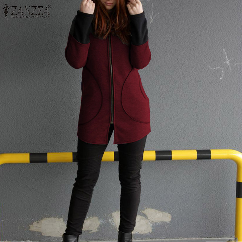 2019 Fashion Women Hoodies Sweatshirts ZANZEA Autumn Long Sleeve Ladies Big Pockets Hoodie Coat Outwear Overcoats Plus Size 5XL