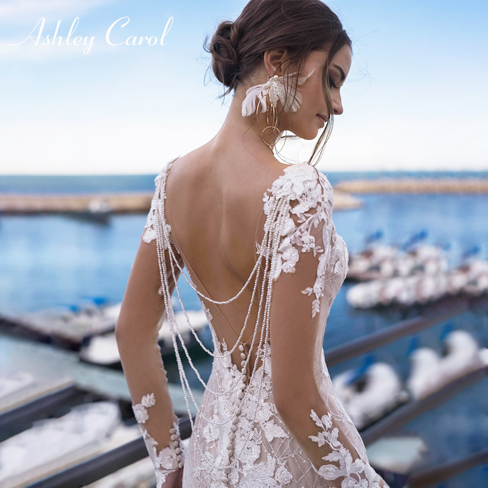 Ashley Carol Sexy Backless Lace Mermaid Wedding Dresses 2020 Long Sleeve Beaded V-neckline Bride Dress African Wedding Gowns