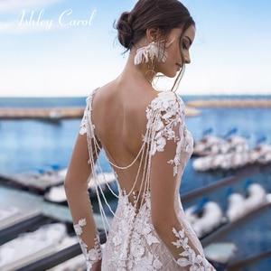 Ashley Carol Sexy Backless Lace Mermaid Wedding Dress 2020 Long Sleeve Beaded V-neckline Bride Dresses African Wedding Gowns(China)