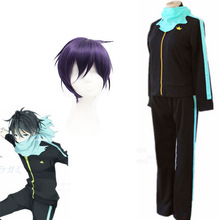 Cosplay Costume Noragami Yato Anime Purple Suit Wig-Cap Short Synthetic-Hair Styled Black