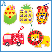 Stringing Craft Toy Wooden-Toys Early-Educational-Toys Weave-Cloth Animal DIY Kids