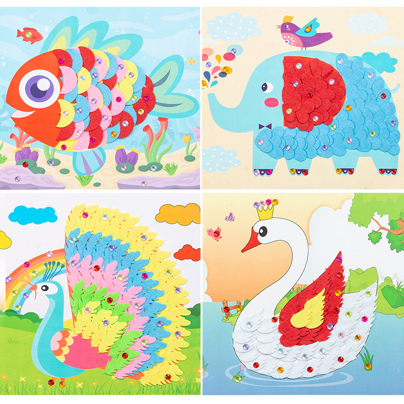 NEW Kindergarten Arts Crafts Diy Toys Puzzle Stickers DIY Crafts Kids Educational For Children's Toys Girl/boy Christmas Gift 31