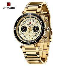 New Women Gold Couple Watches Fashion Chronograph Waterproof Sport Wristwatch Stainless Steel Quartz Wrist Watch-Reward RD81018L
