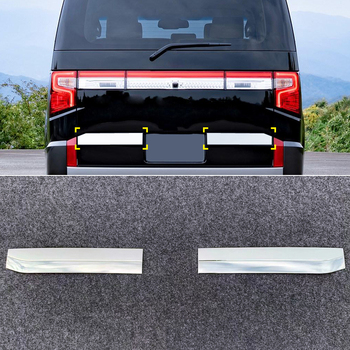 For Mitsubishi Delica 2019 2020 Car Styling ABS Chrome Rear Trunk Tail Gate Molding Strips Cover Trim 2pcs Auto Accessories