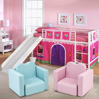 Muti functional Sofa For Kids Foldable Comfortable High Resilience Sponge PVC Children's Relaxing Chair Baby Furniture Pink/blue