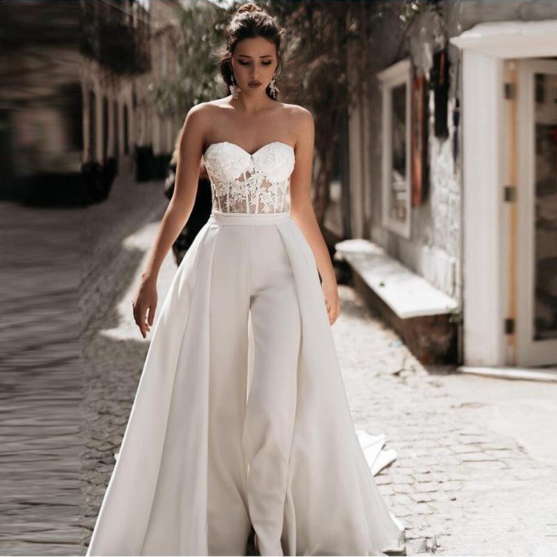 Modest Jumpsuit Beach Wedding Dress With Detachable Train Sweetheart Pants Bridal Gowns Satin Lace Appliques Vestido De Novia
