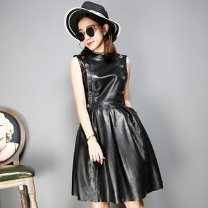Брендовое сексуальное платье из натуральной кожи, черные короткие черные вечерние кожаные платья без рукавов, облегающие осенние платья, ж...