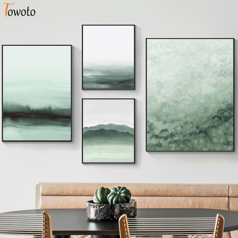 Forest Print Green Abstract Poster Landscape Canvas Painting Watercolor Paintings On The Wall Art Modern Posters And Prints