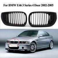 2 pcs 광택 블랙 신장 전면 그릴 bmw e46 3 시리즈 4 도어 2002-2005 자동차 스타일링 액세서리 새로운 자동차 전면 그릴 se23