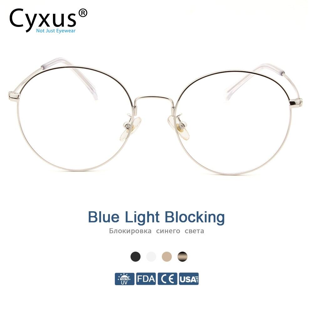 Cyxus Blue Light Blocking Computer Glasses Anti Eye Strain UV Protection Korean Round Metal Frame Gaming Men/Women Eyewear 8090Womens Blue Light Blocking Glasses   -