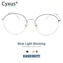 Cyxus Xanh Dương Chặn Ánh Sáng Máy Tính Kính Chống Mỏi Mắt Chống Tia UV Hàn Quốc Gọng Kim Loại Chơi Game Nam/Nữ Kính Mắt 8090