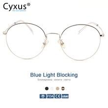 Cyxus azul luz bloqueando óculos de computador anti tensão olho proteção uv coreano round metal frame gaming men/women eyewear 8090