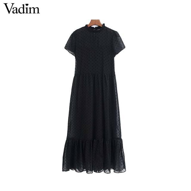 Vadim נשים שיק נקודות עיצוב שיפון שחור midi שמלה קצר שרוול נקבה אופנתי מוצק אמצע עגל שמלות קיץ vestidos QD116