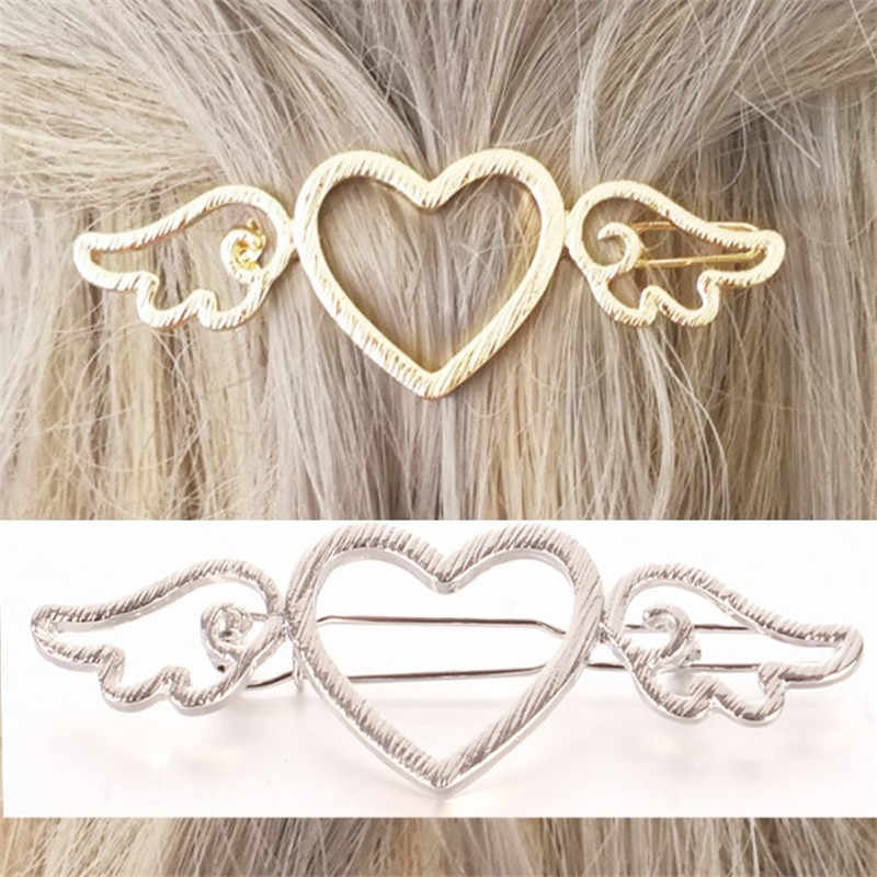 Metal Woman Love Heart Clips Angle Wings Barrettes Alloy Hair Clip Hairgrip