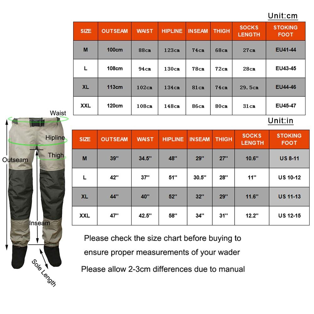 Купить с кэшбэком Fly Fishing Waist Waders Pant Durable Waterproof trousers Wading Breathable Waist Pants With Stocking Foot