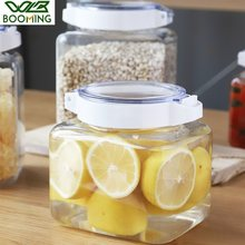 WBBOOMING 900ML 1500ML Press Button Sealing Ring Plastic Kitchen Storage Box Transparent Food Canister Keep Fresh Container