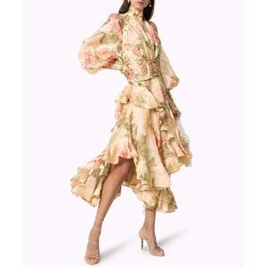 Women Linen Dress Fairy Long-Sleeve Silk Handmade Slim Spring Sashes Rivet