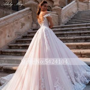 Image 5 - Adoly Mey Glamorous Appliques Lace Court Train A Line Wedding Dresses 2020 Luxury Boat Neck Beaded Princess Bride Gown Plus Size