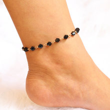 Black Foot Bracelet Female Girl Summer Sandals Bohemian Jewelry Leg Chain Barefoot Female Anklet(China)