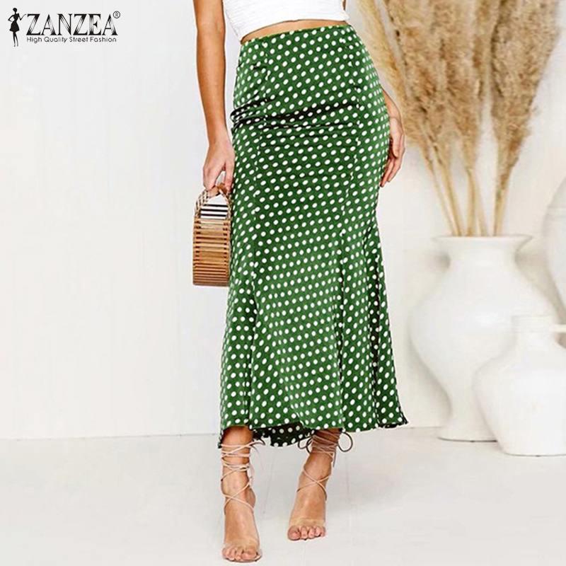 Stylish Women Polka Dot Printed Long Skirts ZANZEA Summer High Waist Bodycon Skirts Fishtail Skirt Female Party Jupe Vestidos