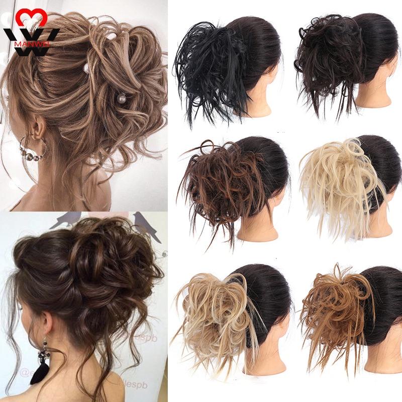 MANWEIScrunchy волосы пучок синтетические волосы для наращивания шиньоны для женщин грязный пучок шиньон эластичная лента для волос пончик обертывание конский хвост|Синтетический шиньон|   | АлиЭкспресс