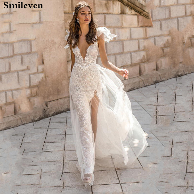 Smileven Sexy Mermaid Wedding Dress 2019 Lace Appliques Bride Dresses Side Split Spaghetti Strap Vestido De Noiva  Wedding Gowns