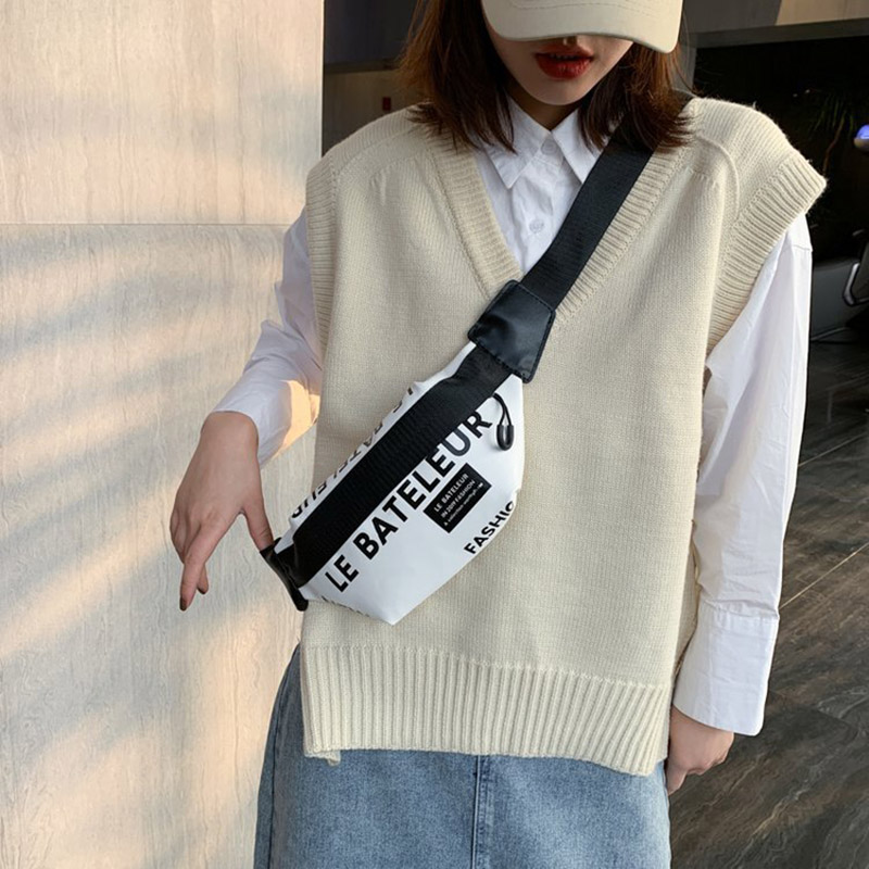 Printed Letters Women Waist Bag Female Street Hip Hop Belt Bag High-Quality PU Leather Fanny Pack Shoulder Crossbody Bags Purse