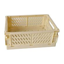 Collapsible Crate Plastic Folding Storage Box Basket Utility Cosmetic Container 090F