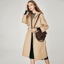 Windbreaker Women Trench Coat 100% Cotton Shell Plus Size Cl