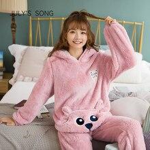 JULYS şarkı sevimli kış pazen pijama seti kadın pijama kalın peluş hayvan karikatür sıcak kız artı kadife kapşonlu ev tekstili