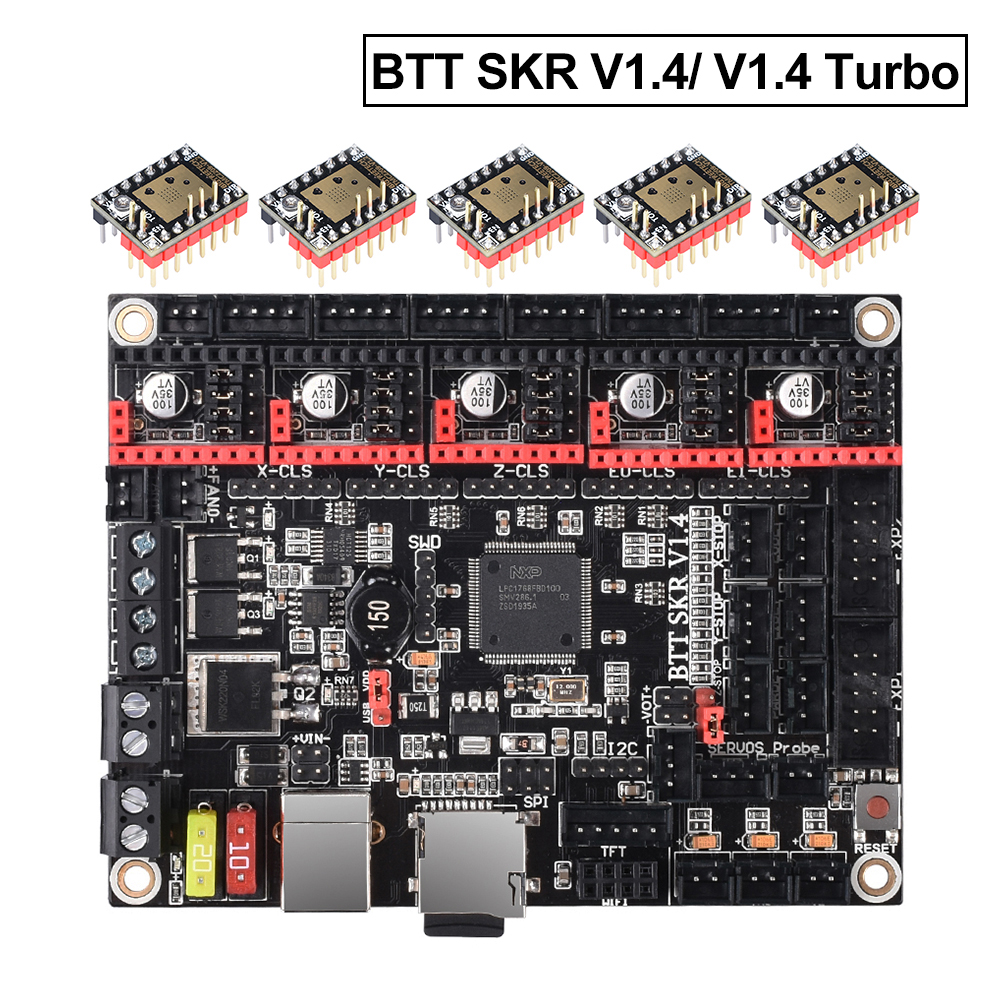 Bigtreetech Skr V1.4 BTT Skr V1.4 Turbo 32Bit Papan Kontrol WIFI 3D Printer Bagian Skr V1.3 MKS Gen L TMC2130 TMC2209 Tmc2208