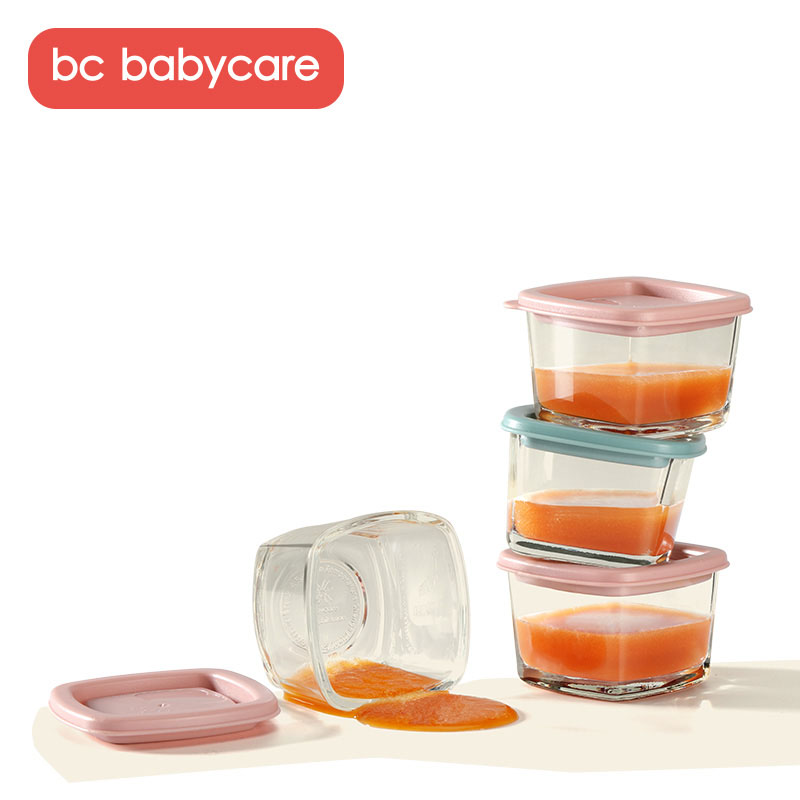 BC Babycare 4 Packs Baby Infant Glass Complementary Food Box Baby Food Supplement Boxes Kid Snack Storage Box Children Tableware