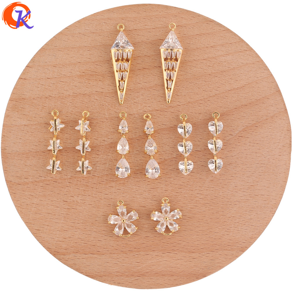 Cordial Design 20Pcs CZ Charms/Jewelry Accessories/DIY Parts/Genuine Gold Plating/Rhinestone Pendant/Hand Made/Earrings Making