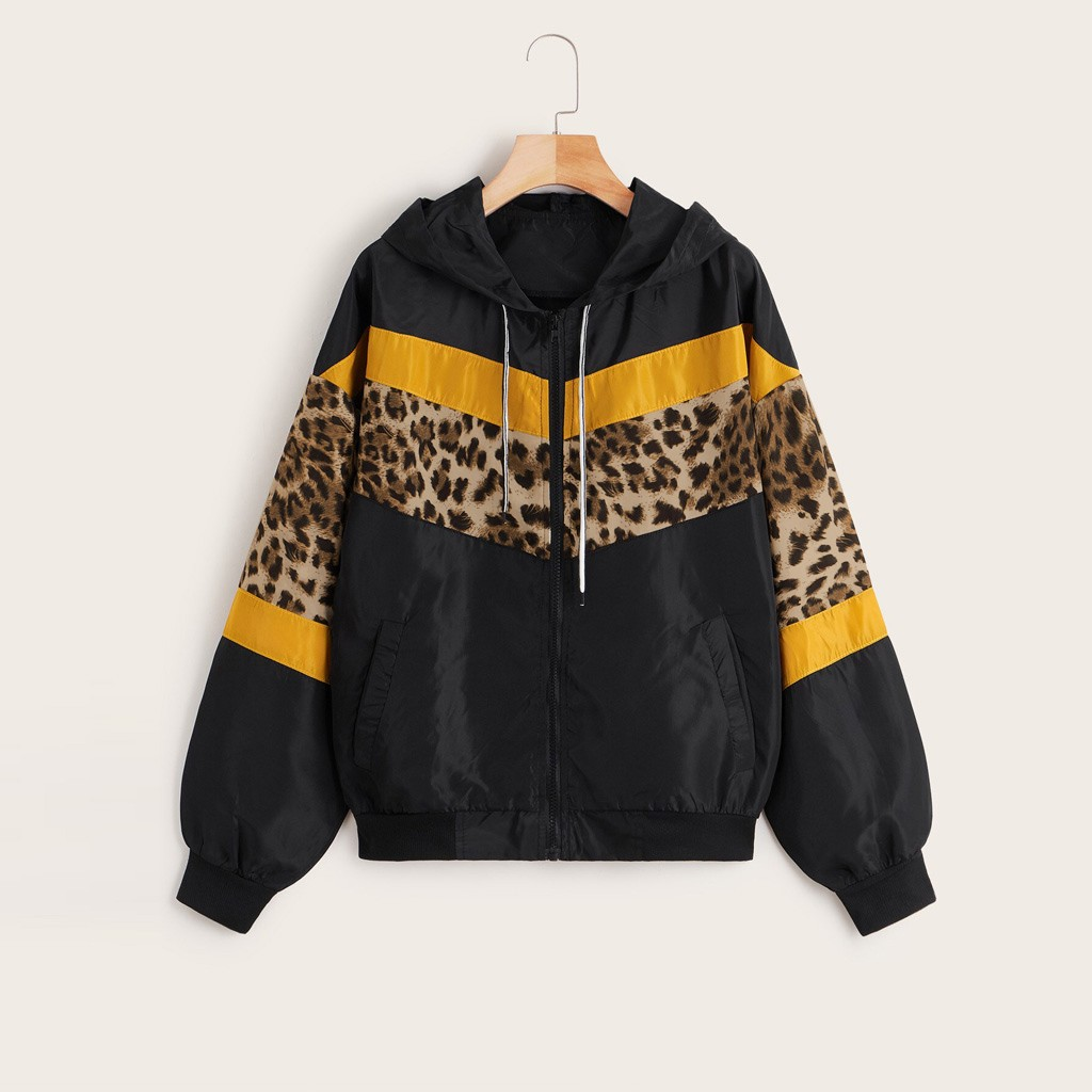 CHAMSGEND куртка леопардовая модная верхняя одежда тонкие кожаные костюмы на молнии с длинным рукавом Куртка с капюшоном пальто Casaco Feminino Manteau - Цвет: A